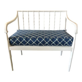 Vintage Sarreid Ltd. Chinese Chippendale Style Faux Bamboo and Cane Bench For Sale