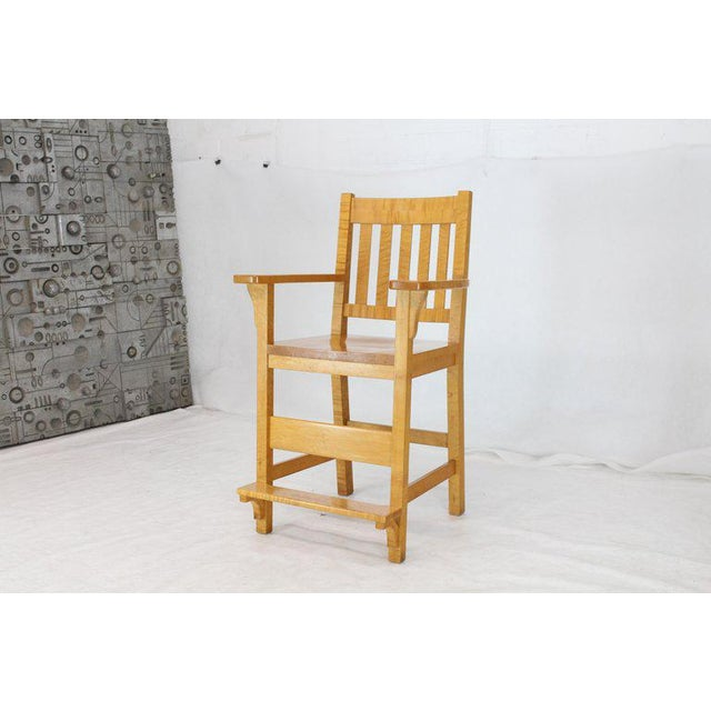 Wood Modern Solid Brid's-Eye Maple High Pool Chairs Bar Stools- A Pair For Sale - Image 7 of 13