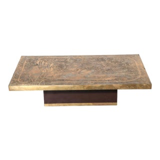 1960s French Etched Bronze Coffee Table For Sale