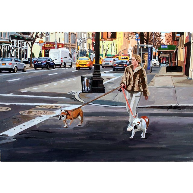 Modern Framed Acrylic Painting on Canvas 'Life in the City' For Sale - Image 3 of 3