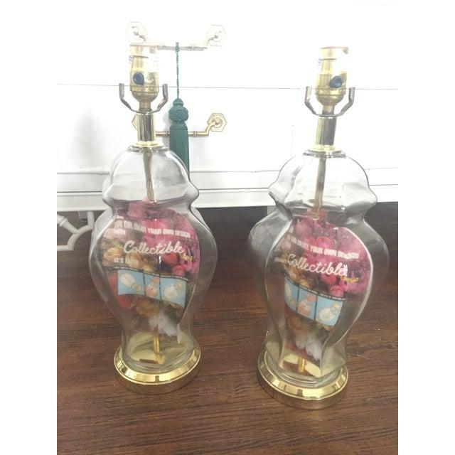 Set of 2 Vintage Glass Fillable Ginger Jar Lamps - Image 8 of 10