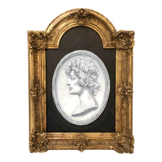 Italian 19th C. Framed Intaglio Style Watercolor Painting For Sale