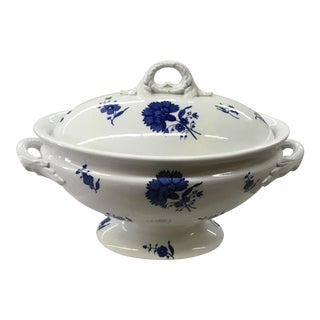 Blue & White Decorative Ironstone Tureen With Lid