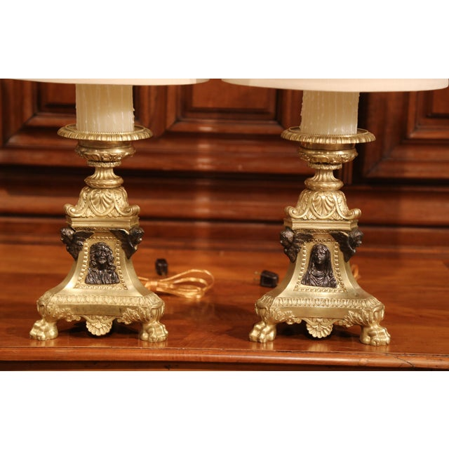 Baroque 19th Century French Patinated Bronze Candlesticks Made Table Lamps - a Pair For Sale - Image 3 of 9