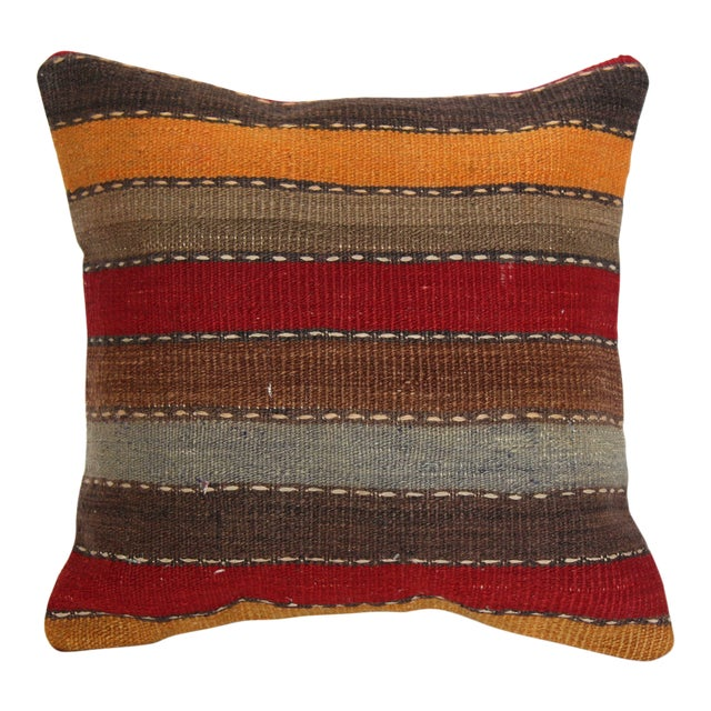 """Turkish Vintage Decorative Handmade Pillow Cover - 16"""" x 16"""" For Sale"""