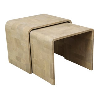 Custom Shagreen Patchwork Nesting Tables - Set of 2 For Sale