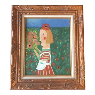 Contemporary Folk Artist Rose Walton Garden Series Painting For Sale
