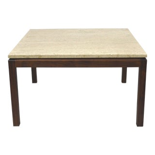 Vintage Danish Modern Walnut & Travertine Stone Marble Top Coffee Table For Sale