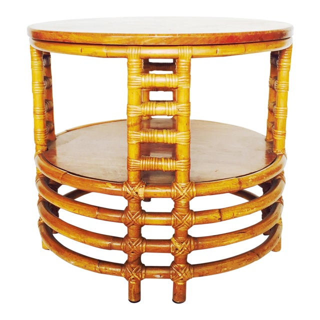 Vintage Round Bamboo Rattan Side Table - Image 1 of 5