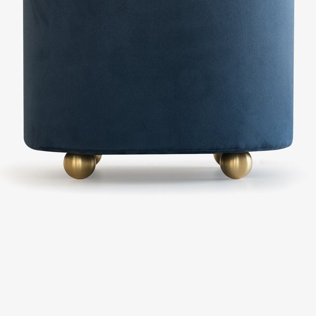 Artifact Accent Ottomans in Navy Premium Faux Suede by Object Refinery- Pair For Sale - Image 4 of 6