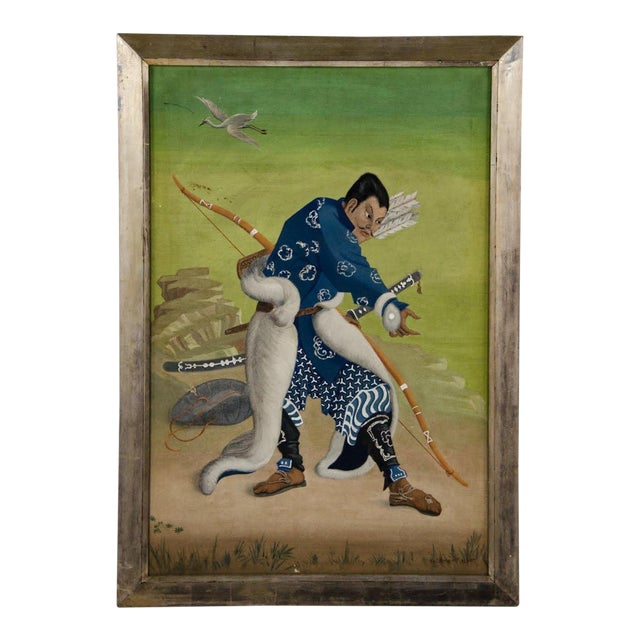 L. Valdemar Fischer Samurai Oil on Canvas Painting For Sale