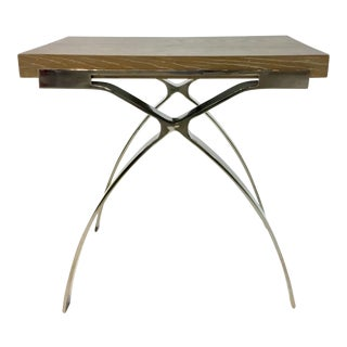 Organic Modern Interlude Home Wood and Nickel Side Table For Sale