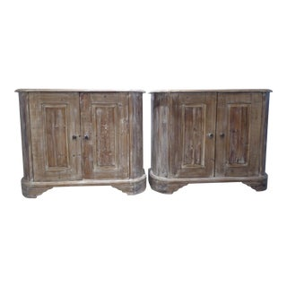 Pom Pom Home White Washed Storage Cabinets - a Pair For Sale