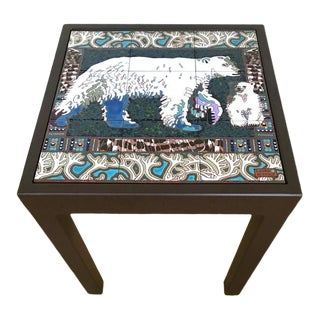 Illustration of Elegant Polar Bear and Cub Side Table For Sale