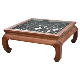 Huge Chinese Coffee Table W Antique Lattice For Sale
