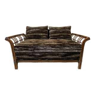 Vintage Rattan Brown Bamboo Loveseat in New Faux Fur Upholstery For Sale