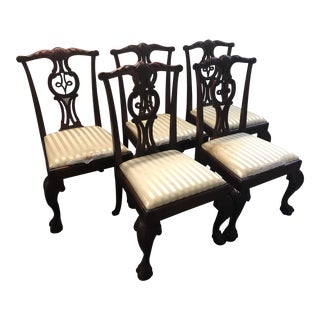 Baker Chippendale Wood Dining Chairs - Set of 5 For Sale
