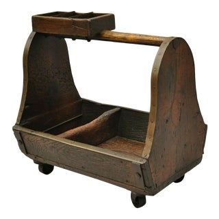 Antique American Primitive Wood Iron Carpenters Cobblers Tool Box Work Caddy For Sale
