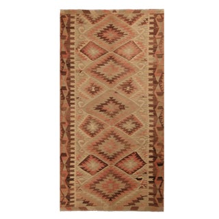 Vintage Esme Beige Brown and Salmon Pink Wool Kilim Rug For Sale
