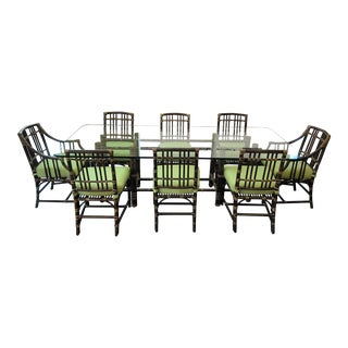 McGuire Vintage Dark Tobacco Bamboo Dining Set For Sale
