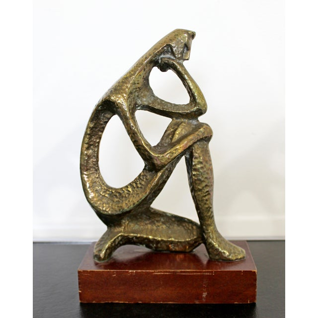 Mid Century Modern Bronze Table Sculpture of Curved Brutalist Figure For Sale - Image 4 of 9