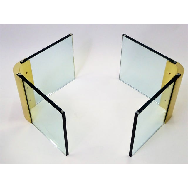 Gold Modern Large 1970s Thick Glass & Brass Coffee Table For Sale - Image 8 of 13