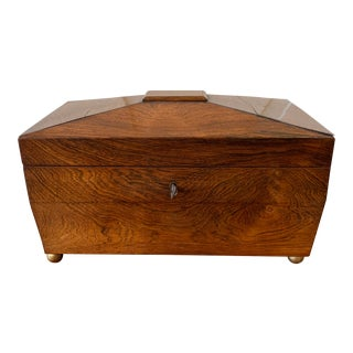 English Georgian Mahogany Tea Caddy For Sale