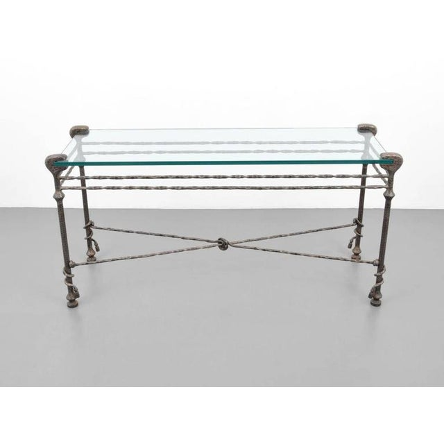 Mid 20th Century Diego Giacometti style Mid-Century Hammered Iron Console Table For Sale - Image 5 of 8