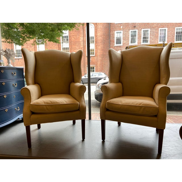 1920s Antique Mahogany, Belgian Linen and Down Cushion Wingback Chairs - a Pair For Sale - Image 10 of 12