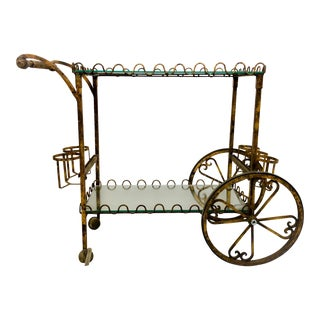 Hollywood Regency Italian Gilt Metal Bar Cart For Sale