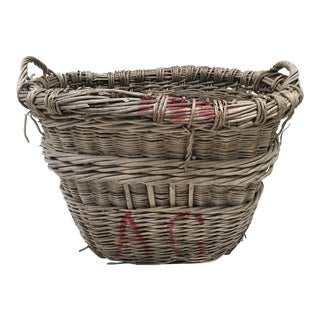 Antique French Champagne Market Basket For Sale