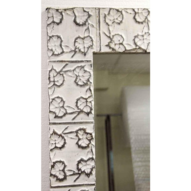 Traditional White Tin Maple Leaf Ceiling Tin Mirror For Sale - Image 3 of 6