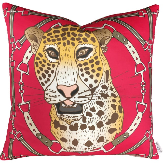 """Contemporary Cheetah Plaid in Raspberry 22"""" Pillow For Sale - Image 3 of 3"""