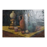 Image of Mid Century Modern Oil on Canvas Painting Still Life Signed For Sale