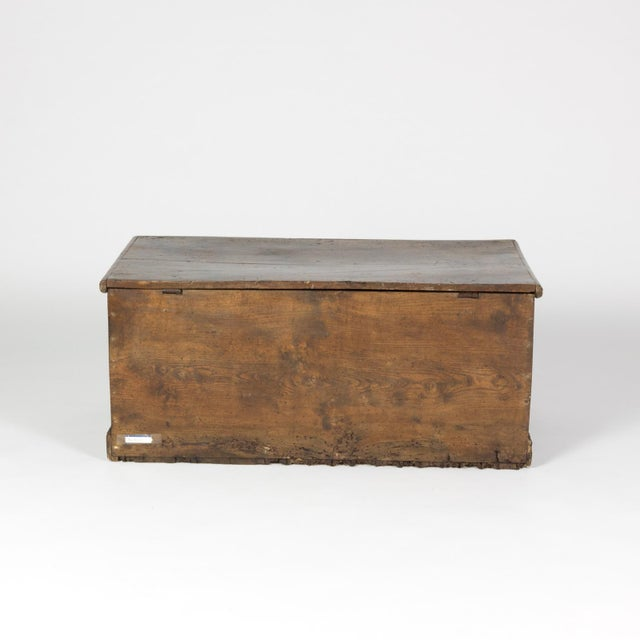 Mid 19th Century Rustic Chestnut Trunk With Over-Scale Iron Hinges, English Circa 1860. For Sale - Image 5 of 13