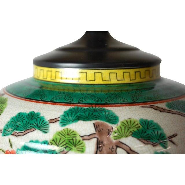 Japanese Polychrome Lamp & Jade Finial - Image 3 of 8