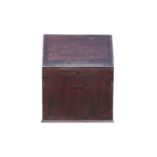 Antique Railroad Hand Carved Red Jarrah Wood Convertible Desk For Sale