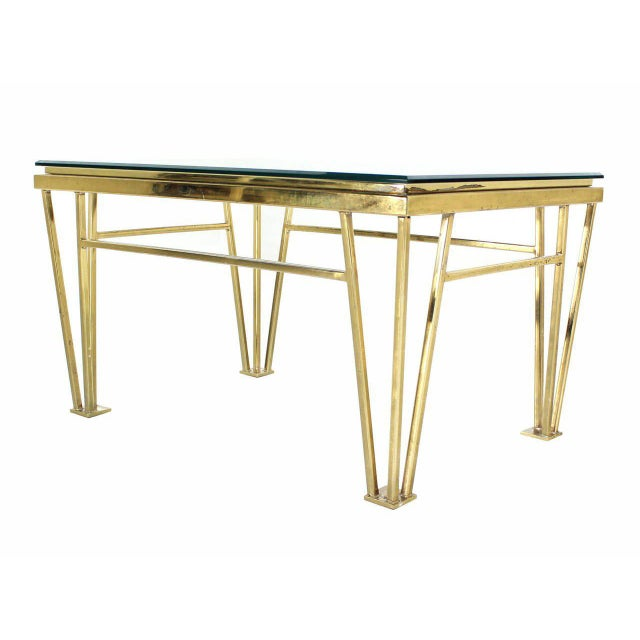 Early 20th Century Geometric Frame Rectangular Brass Side Table w/ Glass Top For Sale - Image 5 of 6