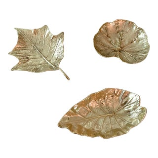 Solid Brass Virginia MetalCrafters Leaf Trays - Set of 3 For Sale