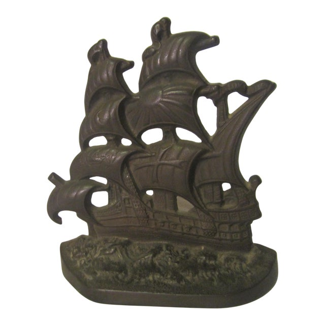 1928 Vintage English Hammered Copper Galleon Ship Bookend For Sale
