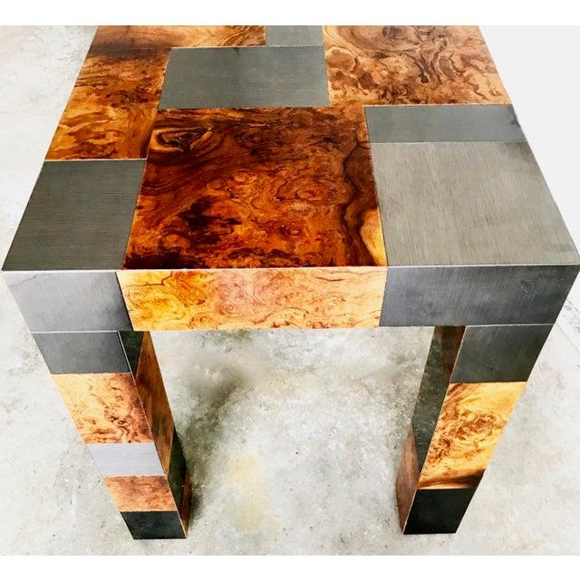 "Paul Evans Signed Original ""Cityscape"" Desk in Burl Walnut & Chrome For Sale - Image 10 of 11"