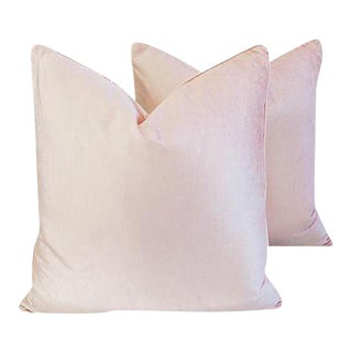 "Champagne Blush Pink Velvet Feather/Down Pillows 24"" Square - Pair For Sale"