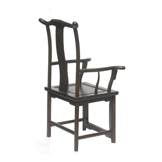 Asian Chinese Elm Wood Brown Yoki-Back Taishi Armchair For Sale - Image 3 of 4