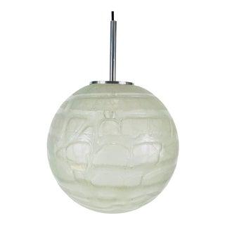 1960s Mid-Century Modern Doria Ice Glass Ball Pendant Lamp, Germany For Sale