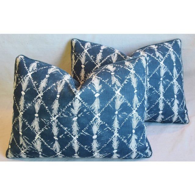 "Feather Designer Chris Barrett Blue & White Feather/Down Pillows 23"" X 17"" - Pair For Sale - Image 7 of 13"