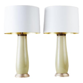Pair of Mid-Century Italian Regency Porcelain Vase Lamps For Sale