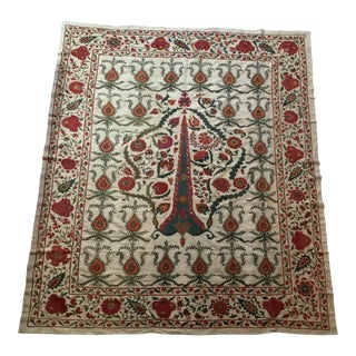 Vintage Silk Embroidery Suzani Textile For Sale