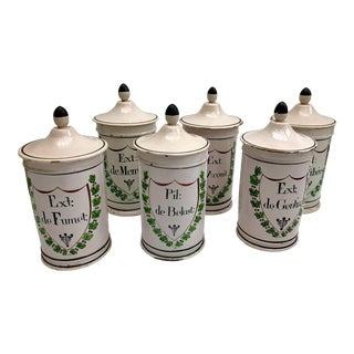 French Antique HAnd Painted Apothecary Jars - Set of 6 For Sale