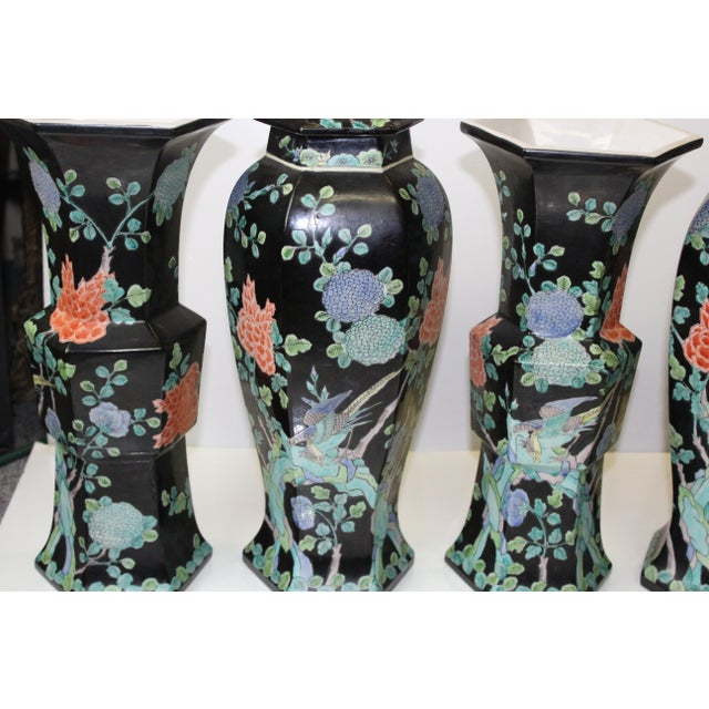 Chinese Garniture Black Vases - 5 Pieces For Sale In New York - Image 6 of 9