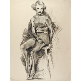 1950's Drawing Seated Female Figure For Sale